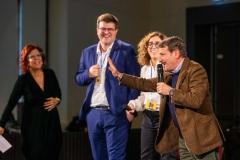 Milano Pitch 2020 | G. Poretti insieme agli autori dell'opera su G. Guareschi | Foto: Virginia Bettoja